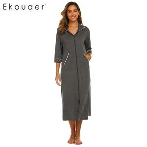 Image 1 - Ekouaer Women Hooded Nightgown Long Home Dress Solid Hooded Long Sleeve Zipper Robe Nightdress Ladies Sleepwear