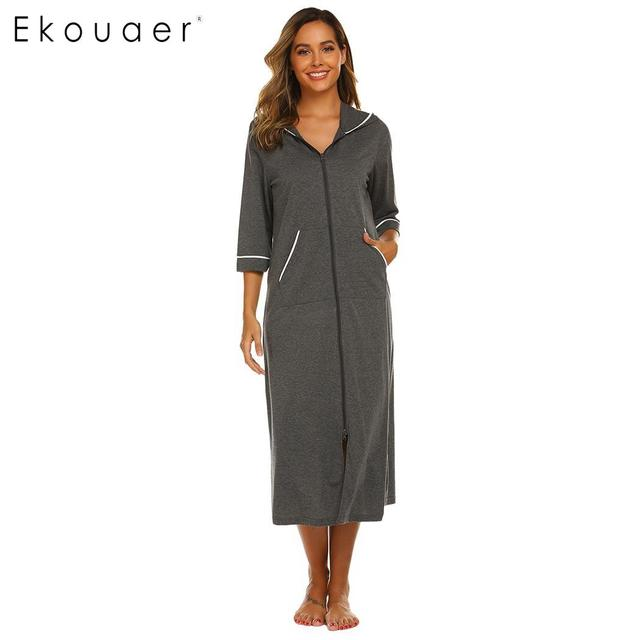 Ekouaer Women Hooded Nightgown Long Home Dress Solid Hooded Long Sleeve Zipper Robe Nightdress Ladies Sleepwear