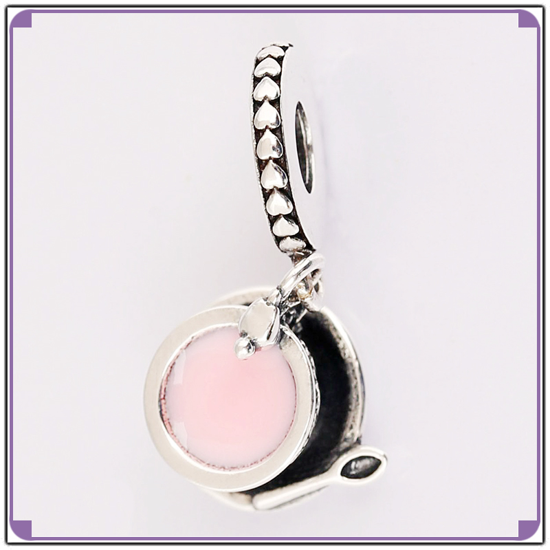 Top Quality 100% Real 925 Sterling Silver Enchanted Tea Cup Dangle Charm with Pink Enamel