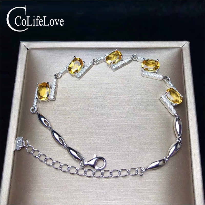 CoLife Jewelry Fashion Silver Citrine Bracelet for Party 5 Pieces Natural Citrine Silver Bracelet 925 Silver