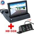 7LED Ночного Видения Автомобиля CCD Камера Заднего вида С 4.3 7-дюймовый Цветной ЖК-Видео Складная Монитор Камеры Автопарк помощь