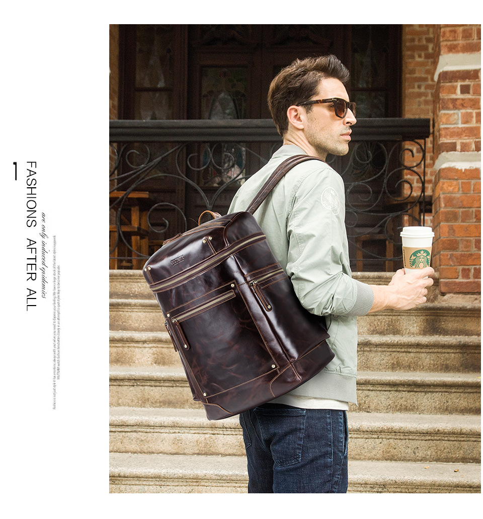 Men's backpack European and American vintage leather men's bag multi-function backpack цена 2017
