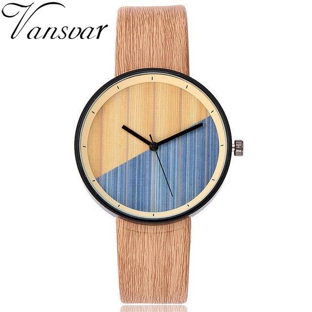 Vansvar Brand Women Wood Watch Luxury Imitation Wooden Watch Vintage Leather Qua
