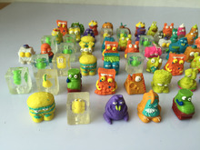 45pcs lot Colorful cartoon anime action figure toy2 3cm PVC soft garbage trash pack model toy