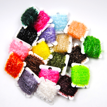 2PCS 19 Colors 10m/card Fly Fishing Tinsel Chenille Flies Material For Streamer Lures Crystal Flash Line,You can pick any color