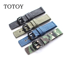 Pure Canvas Leather Watchbands, 20MM / 22MM Mens Denim Strap, Sporty Military Watch Movement Style
