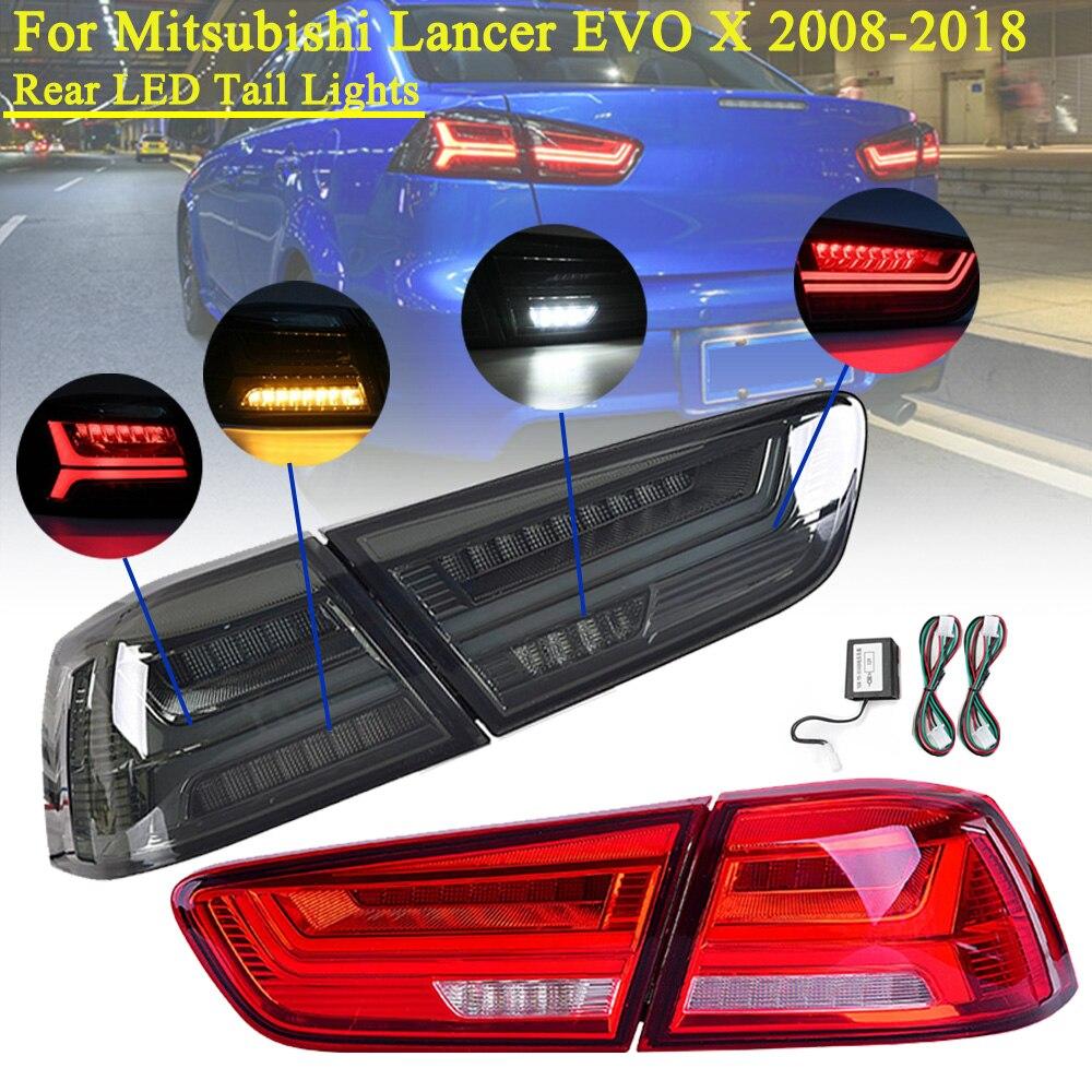 LED Tail Lamp For Mitsubishi Lancer EVO X 2008-2017 Stop Rear LED Tail Brake Light Lamp Left Right Side LED Turning Signal Light