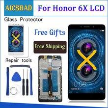 ЖК дисплей AICSRAD для Huawei Honor 6X, Фотографическая деталь, сенсорный экран с дигитайзером в сборе, рамка с бесплатными инструментами