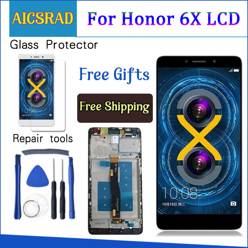 AICSRAD LCD Display For Huawei Honor 6X BLN L24 BLN AL10 BLN L21 BLN L22 touch screen Digitizer Assembly Frame with Free Tools-in Mobile Phone LCD Screens from Cellphones & Telecommunications