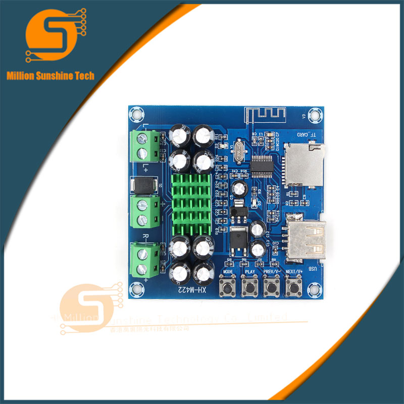 Free Shipping XH-M422 DC12-24V TPA3116D2 50W + 50W Bluetooth 4.0 Amplifier Board With Bluetooth U Disk TF Card Player C3-001