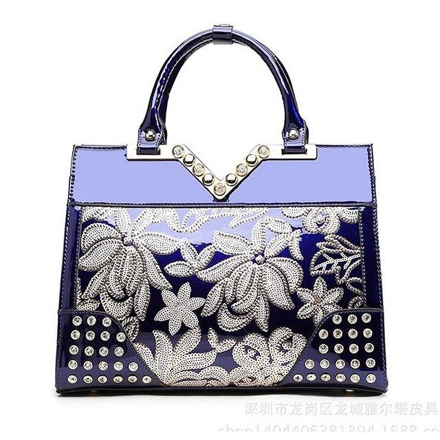 Новый Бриллиантами Женский сумка Из Натуральной Кожи Сумки Модные Сумки & Crossbody сумки Женщины Вышивка Цветочные сумка