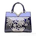 Los nuevos Diamantes bolso Femenino de Cuero Genuino Totes Bolsos de Moda y bolsos Crossbody de Las Mujeres Del Bordado Floral de La Bolsa de mensajero