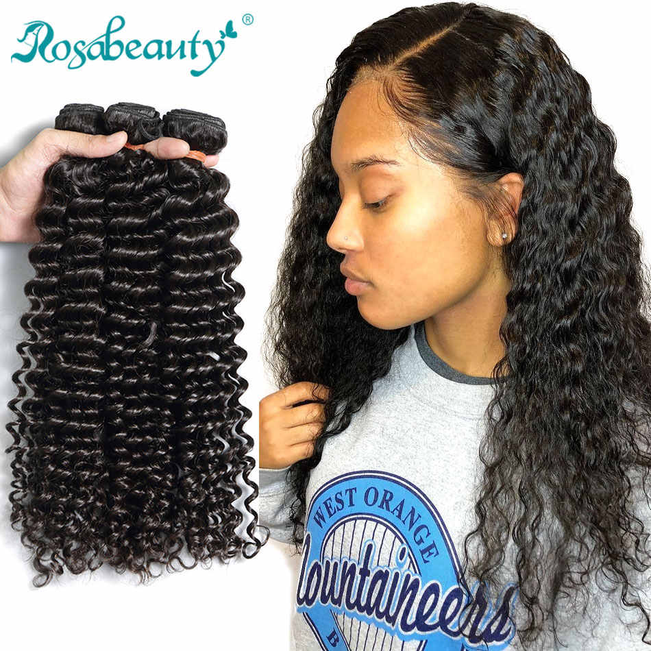 Rosabeauty Grade 10A Deep Wave Virgin Hair Malaysian Curly Human Hair Weave Bundles 30Inch Bundles Natural Color Hair Extensions