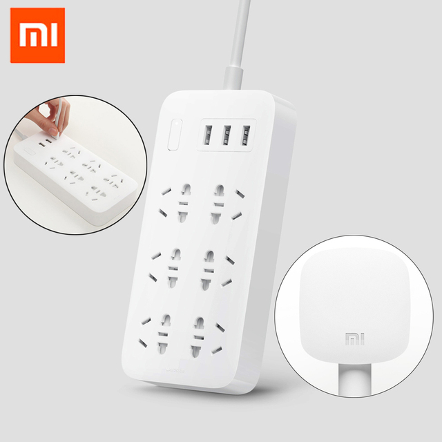 Original Xiaomi Mi Power Socket Strip With 3 USB 5V 2.1A Fast Charging Extension 6 Sockets With Safety Door