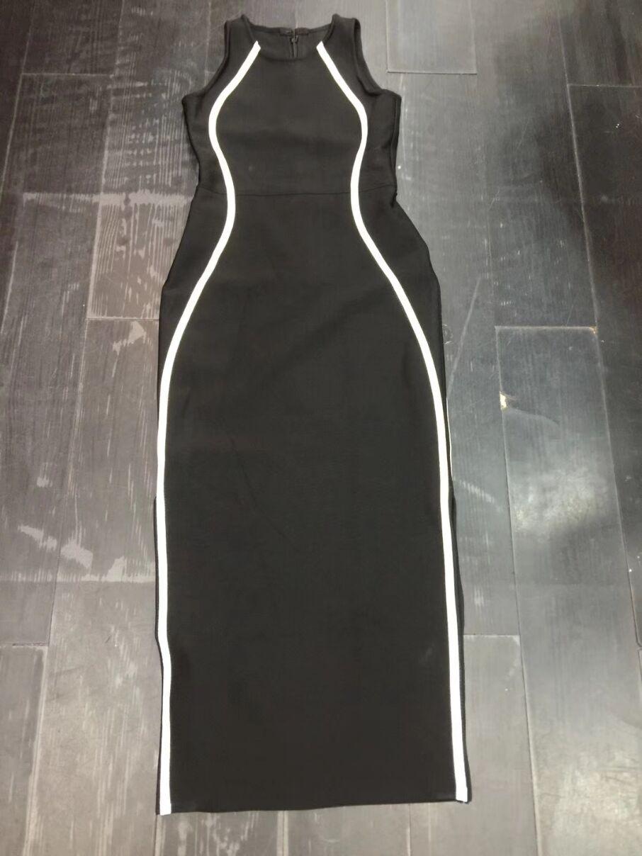 Femmes Robe De O Haute Manches 2018 Élégante Bandage Qualité Noir Sans Mi Robes Soirée Date Partie mollet Célébrité cou xwwXvECZ