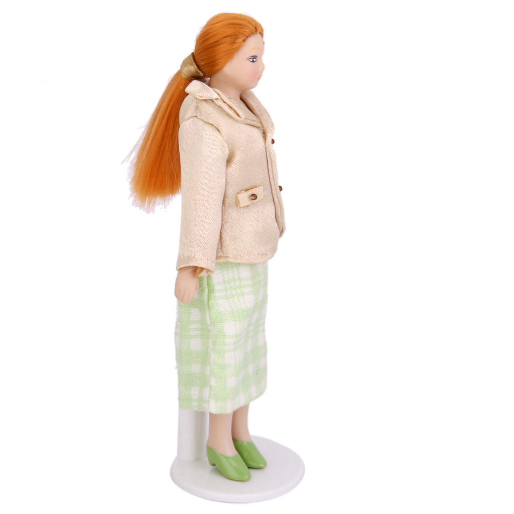 Fashional Dollhouse Miniature Porcelain Dolls Women with White Stand Doll Lover Collcection Doll Accessory Coat and Green Skirt 1