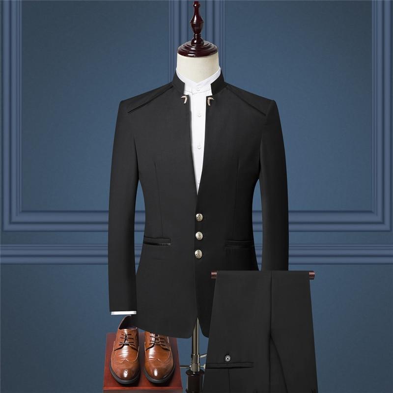 Autumn Black Mens Suit Two-Piece Fashion Suit Blazer And Pants Navy Wine Red Mens Suits 4xl