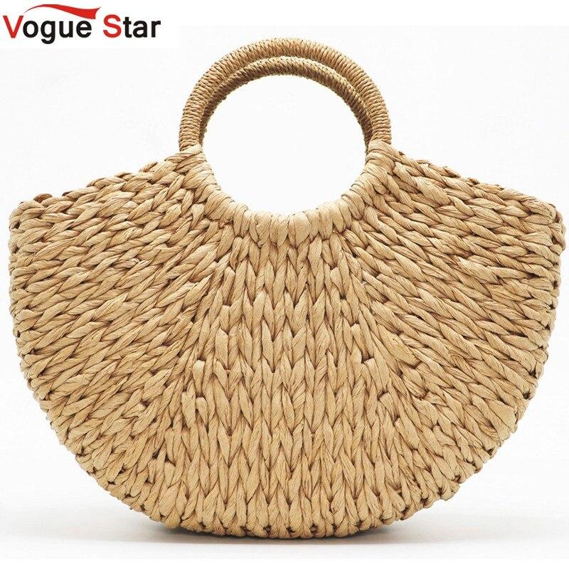 Пляжная сумка ручной работы, круглая соломенная сумка, большая сумка-ведро, летние сумки, женская корзина из натуральных материалов, сумка-т...