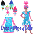 Trolls Dress + Wig 2017 Happy New Year Trolls Girls Party Cosplay Dress Kids Party Cosplay Wig