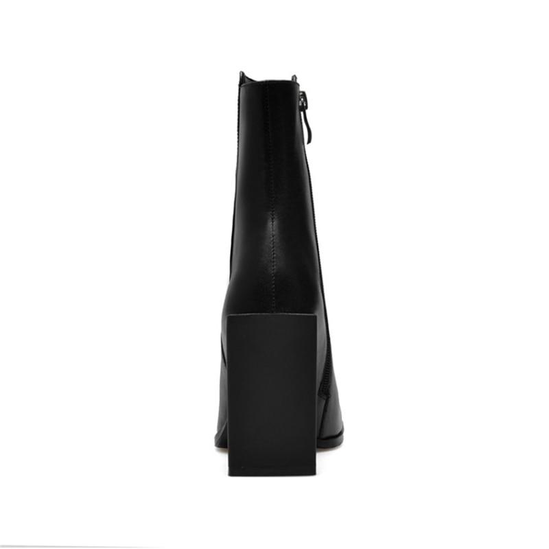 Véritable Bottes black Femme Furtado Mode Bout Matin White Automne Blanc Carré Cuir Cheville Zipper Chaussures Nouveau En Haute Arden Talons 2017 Pour wF7nq11xU
