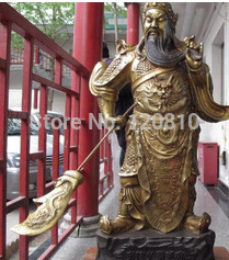 24 Chinese classical worshipped warrior Guangong Guan gong bronze copper Statue z