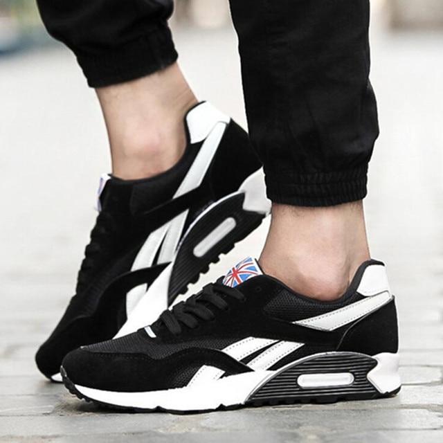 52cb7eb6 2017 Высокое качество Мужская дышащая повседневная обувь модные мужские  кроссовки дизайнер шнурки Обувь На Шнуровке Модные