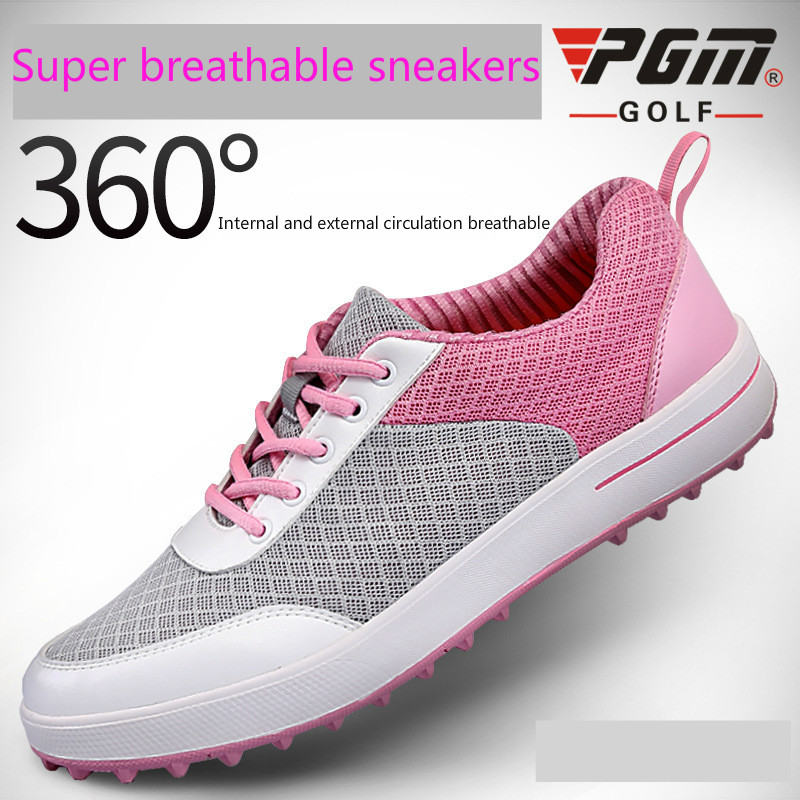 PGM Golf Shoes Women EVA Golf Sneakers Brand Womens White Shoes Spike Sports Footwear Breathable Waterproof Antiskid Golf Shoes