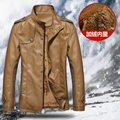 Men winter Plus thick velvet motorcycle leather coats plus velvet PU male jackets