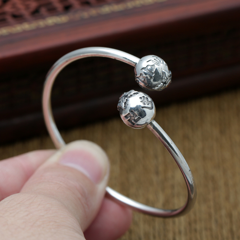 Wholesale S990 Sterling Silver Jewelry Retro Thai Silver Men And Women Simple Halo Mantra Great Ming Curse Open Ended BangleWholesale S990 Sterling Silver Jewelry Retro Thai Silver Men And Women Simple Halo Mantra Great Ming Curse Open Ended Bangle