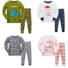 Купить с кэшбэком Dinosaur Children Pajamas Suit Boys Pijama Sleepwear Baby Boy Clothing Bottom T-Shirts Kids Pyjamas Home Sport Suit Clothes