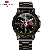 men black wood watch kunhuang brand mens quartz wristwatches