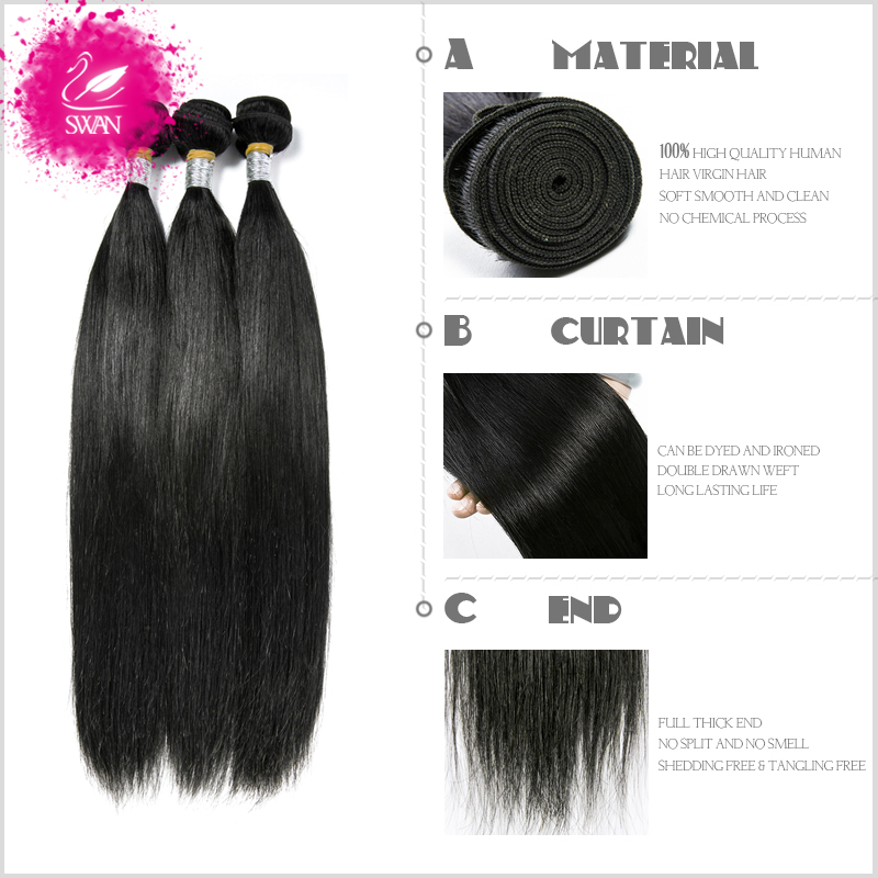 Swan 9a Peruvian Virgin Hair Straight Hair Weave 4 Bundles 100