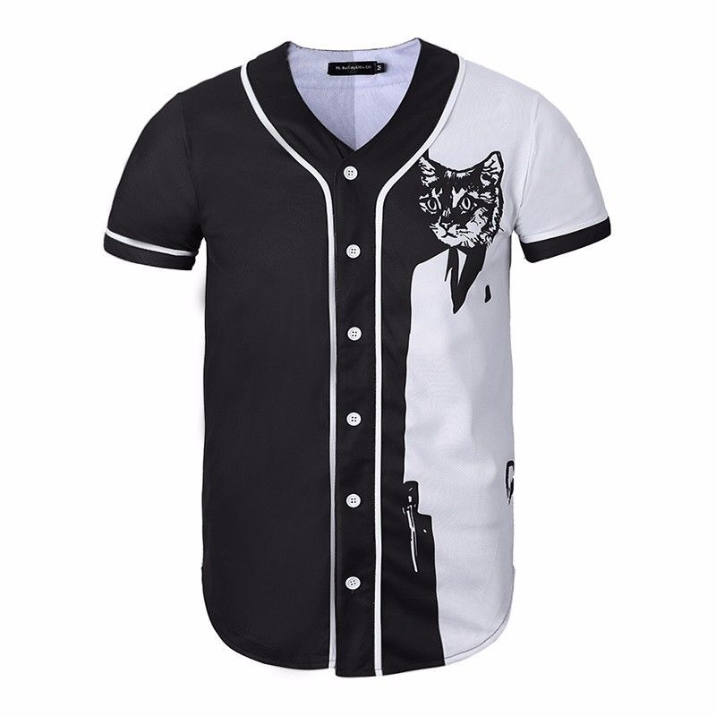 huge selection of 3e024 784eb US $23.99 |3D Cool Suit Cat Black & White Baseball Jersey Shirts Button  Down Mens Casual T Shirt Tee Fashion Summer Short Sleeve Top-in T-Shirts  from ...