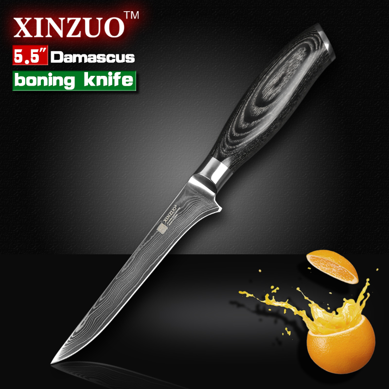 XINZUO 5 5 inch boning font b knife b font Damascus kitchen font b knives b