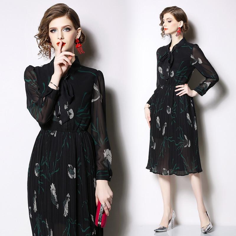 Women 39 s new chiffon print Slim elegant dress spring fashion party dress in Dresses from Women 39 s Clothing
