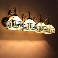 Экзотическая Тиффани Винтаж Стекло Железный светодиодный E27 настенный светильник для Гостиная проход балкон водостойкий с зеркалом свет Ac