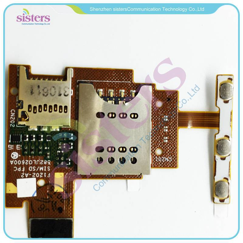 Wholesale SIM Reader+ Memory Card Reader Power + Volume Button Flex Cable For Sony Xperia J ST26i ST26a ST26 Free Shipping