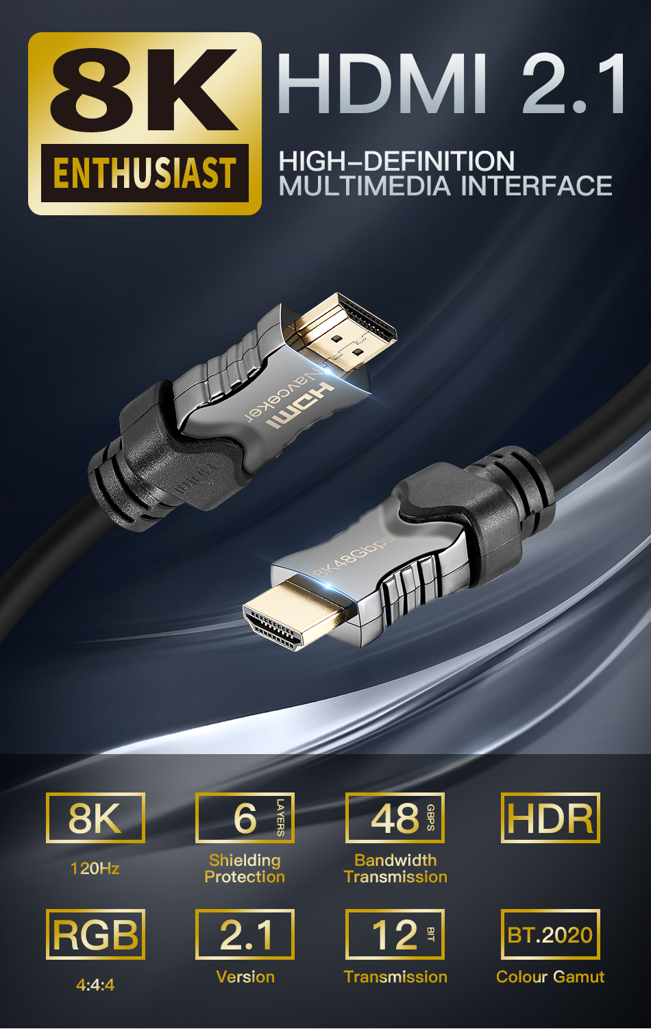 2019 Best 8K 48Gbps 2 1 HDMI Cables 4K HDMI 2 1 Cable eARC Cabo HDMI 2 1  UHD Dynamic HDR HDMI 2 1 Cable for 8K Samsung QLED TV