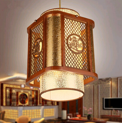 New classical coffee carved wood art frame Pendant Lights Rural golden cloud pattern shade lamp for courtyard&pavilion MYR028