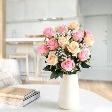 preserved fake rose high quality silk artificial flowers velvet branch roses eternelle bouquet for wedding home decoration H0031 цены онлайн