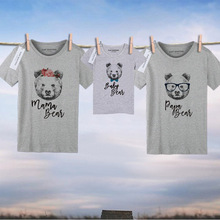 1PC Papa Baby Mama Bear Family tshirt Short Sleeve Mom And Daughter Matching Clothes Family Look Father Mother Son Outfits