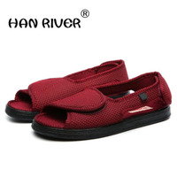 Professional diabetes health care shoes in the spring and autumn, the elderly foot swelling shoes breathable flat shoes red