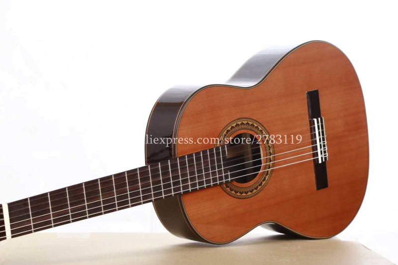 36 inch Handmade Spanish guitar,VENDIMIA SOLID Cedar /Rosewood Acoustic guitarras,classical guitar with Nylon string 580MM two way regulating lever acoustic classical electric guitar neck truss rod adjustment core guitar parts