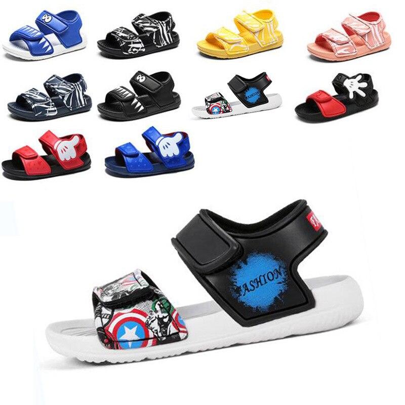 Disney New Children's Sandals Soft Bottom Boys And Girls Cartoon The Avengers Beach Shoes Waterproof Open Toe Shoes Size 23-31