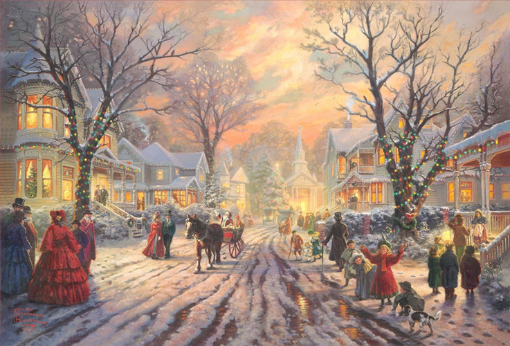 free shipping Christmas bells lights snow house scenery canvas prints oil painting printed on canvas wall art decoration picture