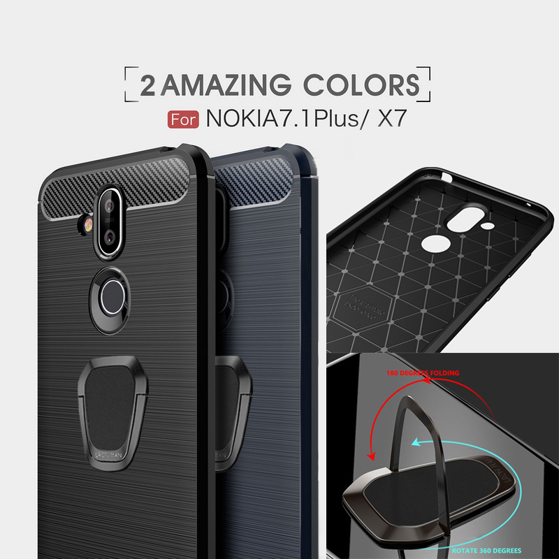 Carbon Fiber Texture Case For <font><b>Nokia</b></font> 9 7.1 6.2 5.1 4.2 3.1 2.1 2.2 3.2 <font><b>X71</b></font> 1 Plus X7 X6 X5 5 6 7 8 Magnetic Ring Holder Silicone image
