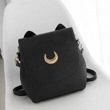Миссис Win женщины рюкзак искусственная кожа Сейлор Мун рюкзак черный, белый цвет Luna кошка дамы рюкзак девушки путешествия Back Pack Mochila BB60