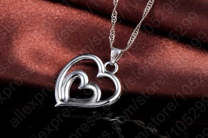 Romantic Women Jewelry Sets 925 Sterling Silver  Zircon CZ Crystal Double Love Heart Necklace&Earrings Jewelry Set Hot Sale