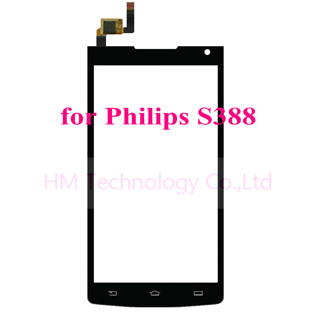 4 5 Black TP for Philips S388 Touch Screen Digitizer Front Glass Panel No LCD Replacement
