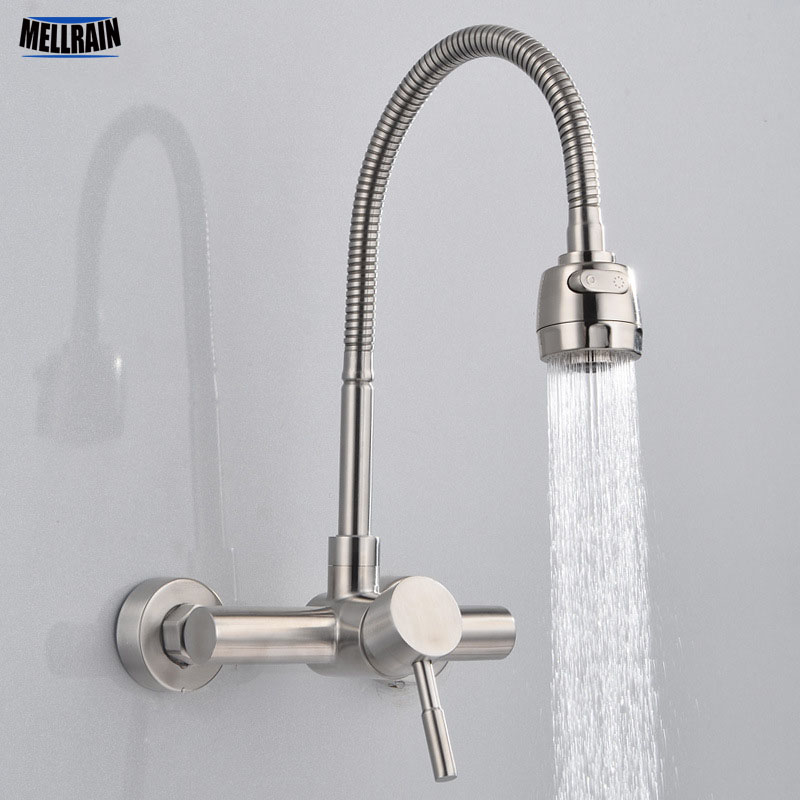 Free Shipping Stainless Steel material Wall Mounted Kitchen sink mixer faucet With free rotation hose mixer